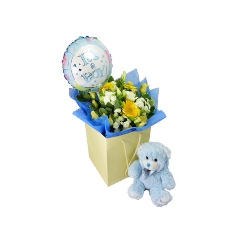 New baby boy bouquet gift free uk delivery post a rose flowers new baby boy gift negle Choice Image