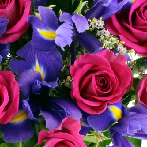 Blush Rose And Iris Bouquet Free Uk Delivery Post A