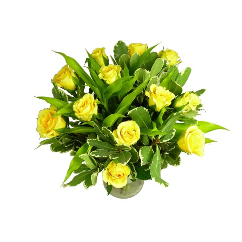 Golden yellow rose bouquet 12 rose bouquet free uk delivery deluxe yellow roses mightylinksfo