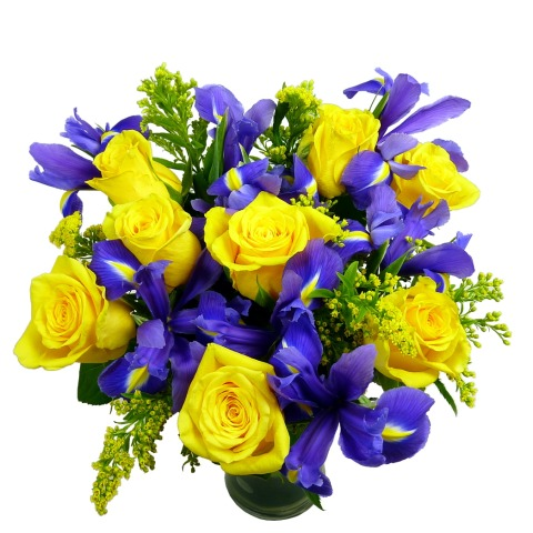 Sunny rose and iris bouquet free uk delivery post a rose flowers sunny rose and iris bouquet mightylinksfo Image collections