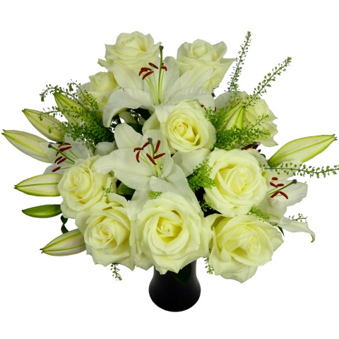 White roses and lilies free uk delivery post a rose flowers white rose lily bouquet mightylinksfo